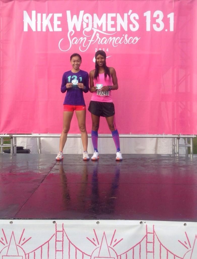 With Sasha Exeter after Nike Women's Half-Marathon 2014