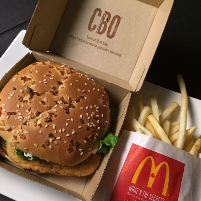 McDonald's CBO sandwich and fries