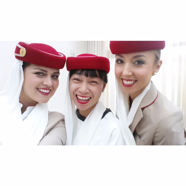 #RedHatSelfie with Christiana and Alexandra of the  Emirates cabin crew