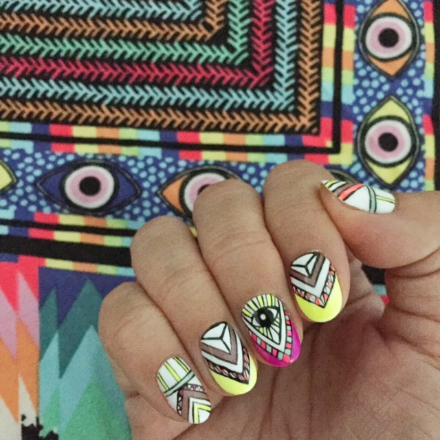 beachy tribal eye nail art