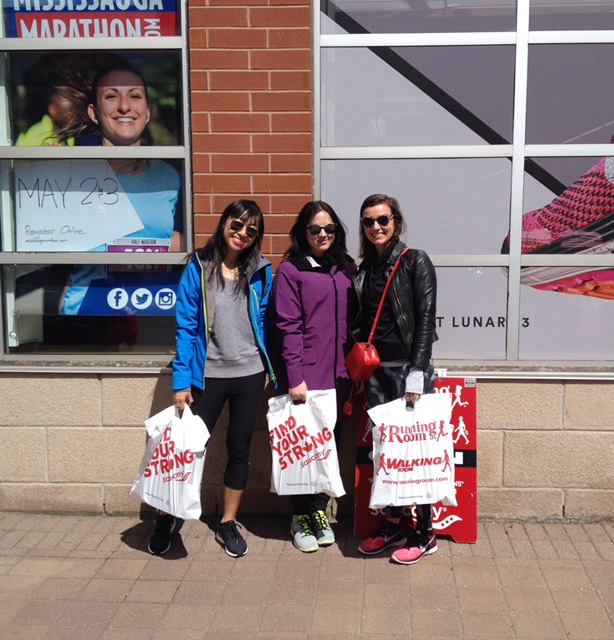 At the Running Room with our new Brooks Running shoes for the Run for Women