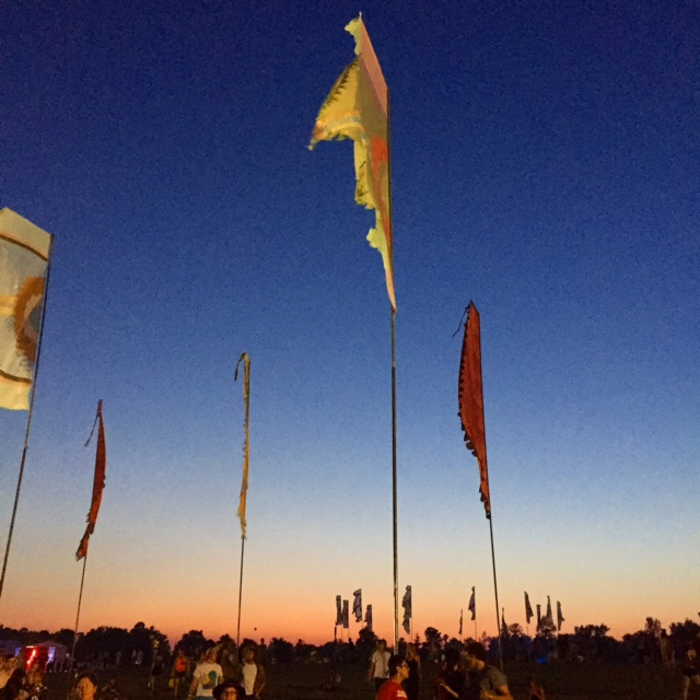 Wayhome flags at sunset