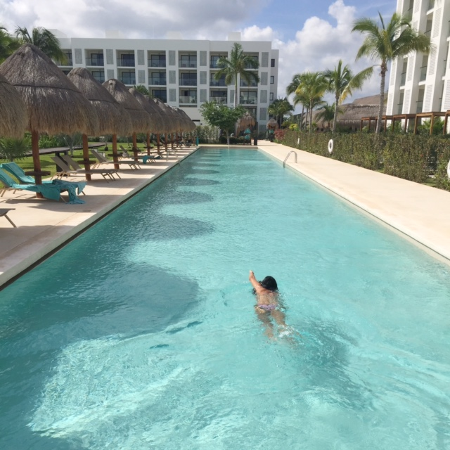 swimming laps at Finest Playa Mujeres