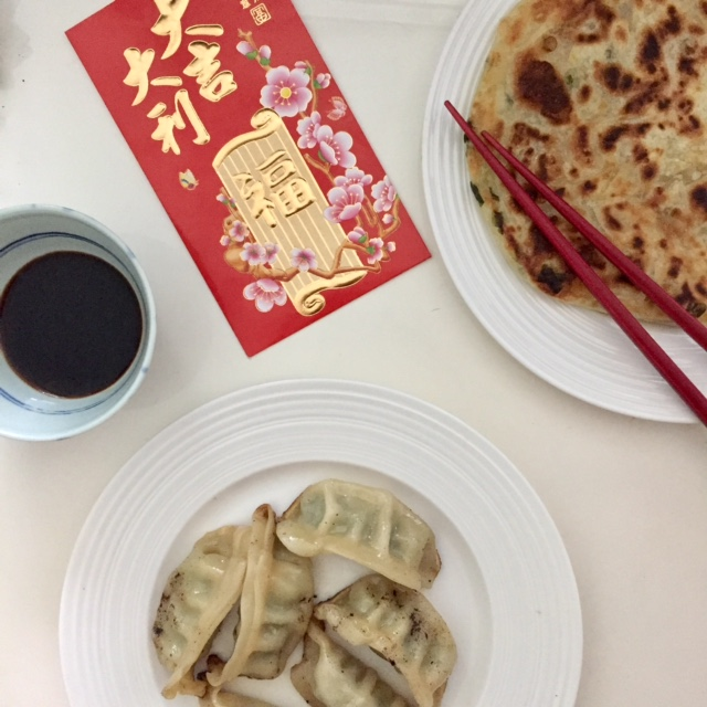 dumplings pancake and red envelope