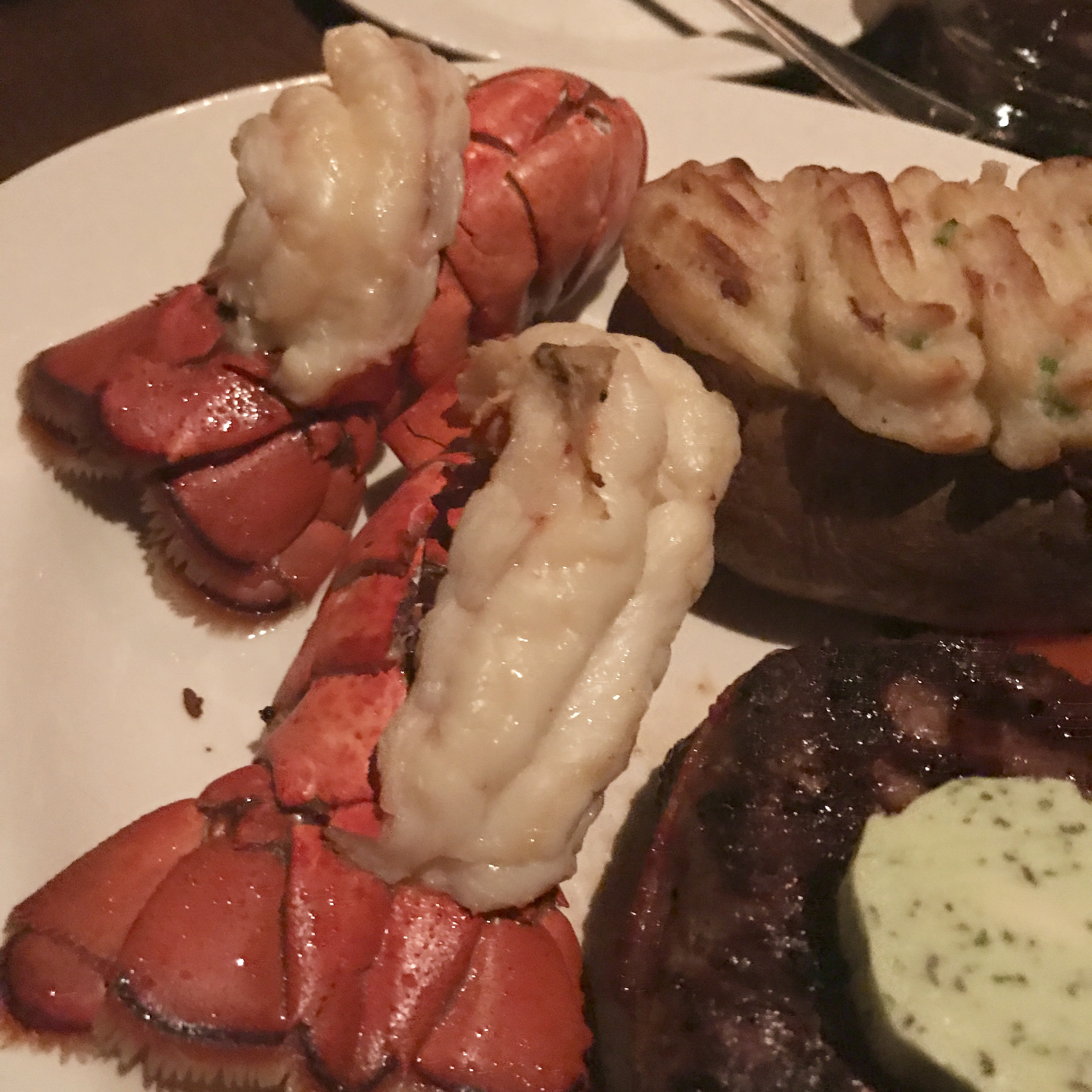 The Keg lobster tails with filet mignon
