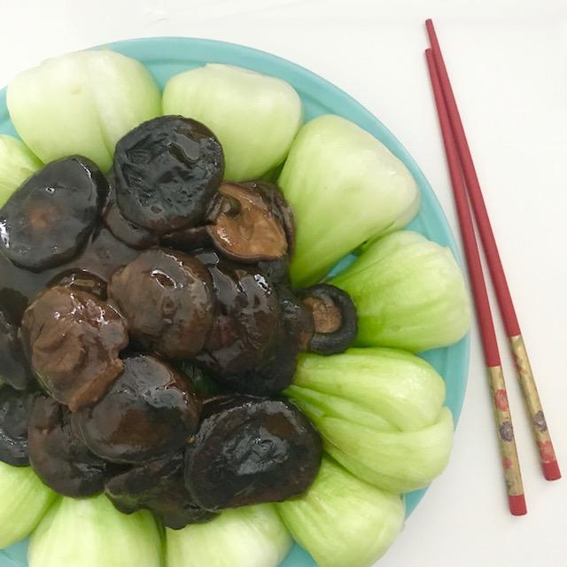 Braised mushrooms with sesame bok choy